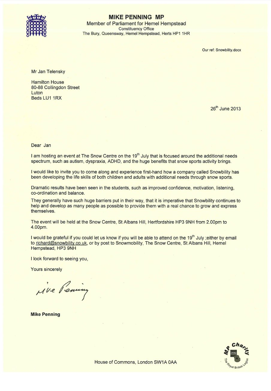Letter from Mike Penning