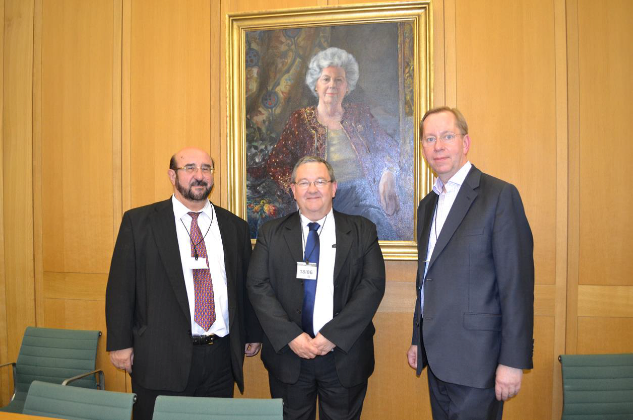 Dr. Jan Telensky, Eric Wiltsher (RTI) Michael Robert in Parliament